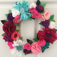 Felt Flower 'Summer' Wreath