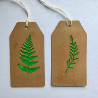 2 x Leaf Gift Tags with felt accents