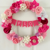 Personalised Felt Flower and Bunting Wreath with buttons