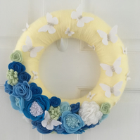 Felt Flower and Butterfly floral Wreath