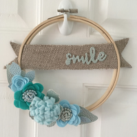 Smile Embroidery Hoop Wreath with Felt and Faux Leather Flowers