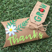 Pillow Box Teacher Thank you Gift with Wildflower Seeds