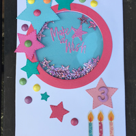Age 'shaker' card with stars and candles