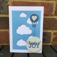 New Baby Card with Clouds and Hot Air Balloon