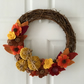 Autumnal Pumpkin and Felt Flower Hamdmade Wreath