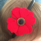 Satin Hairband with Red Felt Flower and Vintage Button - Great for Christmas