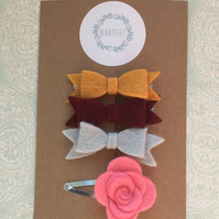 Children's Hair Accessories Set - Bow and Flower Clips