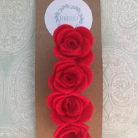 Felt Rose Hair Barrette Clip
