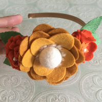 Felt Flower Hairband in Autumnal Colours