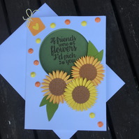Floral Sunflower Friend Card
