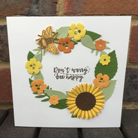 Sunflower and Bee Wreath Card with Seed Gift inside