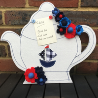 Nautical Teapot Memo Board with Felt Flowers
