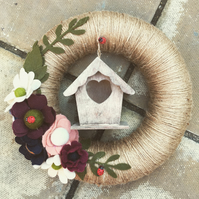 Rustic Country Style Wreath with Bird box and Felt Flowers