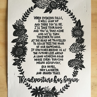 Wedding, Love, Relationship Poem, Original A4 Woodcut Print
