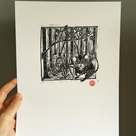 Robin Hood Archery Mouse in the Woodland, Original A4 Linocut Print