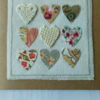 Hand Made Textile Art Hearts Greetings Cart