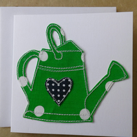 Original Hand Made Textile Art Watering Can Greetings Card