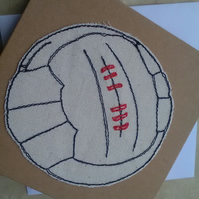 Textile Art Vintage Football Greetings Card