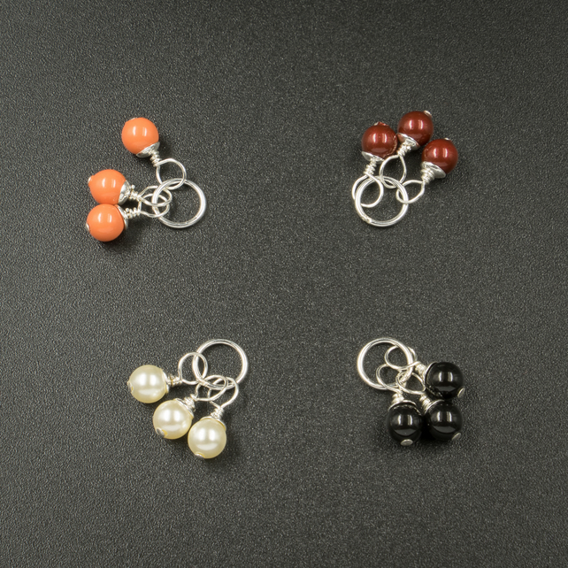 Gift set of 4 pairs of interchangeable swarovski pearl bead earring drops