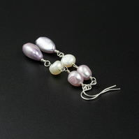 Freshwater pastel pearl link long drop earrings , pearl jewelry