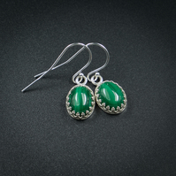 Malachite and sterling silver gemstone earrings , Scorpio , Capricorn jewellery
