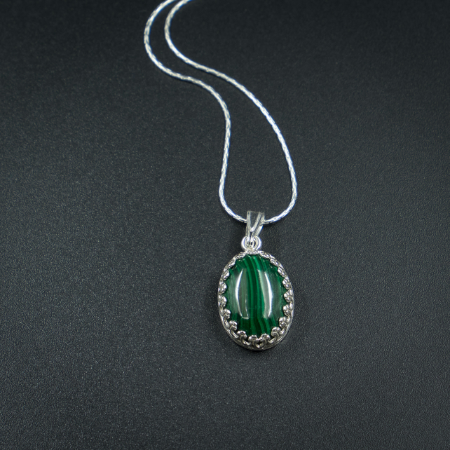 Malachite and sterling silver gemstone pendant necklace, Capricorn jewellery