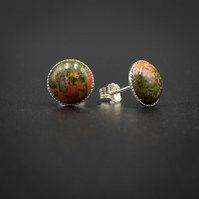 Unakite, sterling silver stud earrings,  Pisces, Aries jewellery