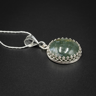 Moss agate and sterling silver gemstone pendant necklace Taurus, Gemini jewelry