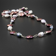 Cranberry, lilac and peacock freshwater pearl sterling silver long link necklace