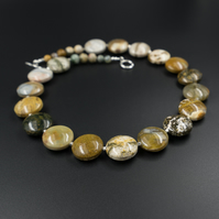 Natural ocean agate and Karen Hill tribe silver statement necklace