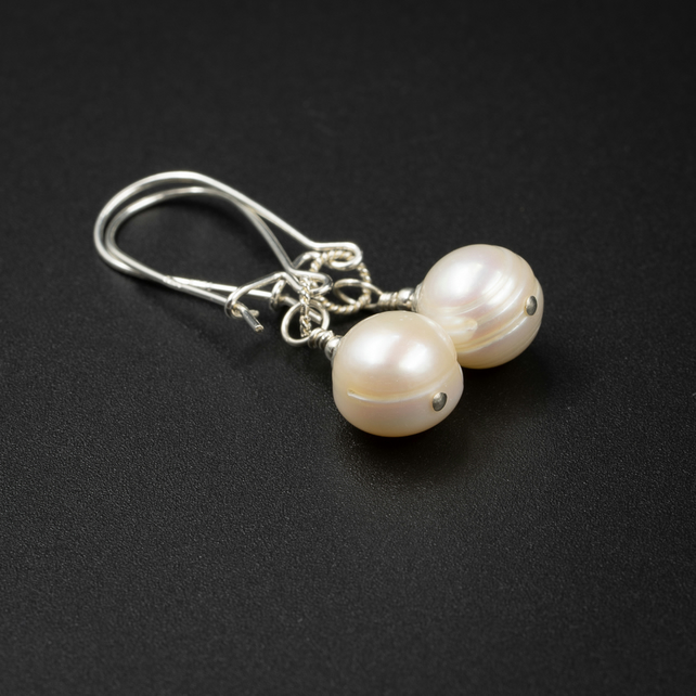 Natural cream freshwater pearl earrings, natural pearl drops, pearl jewelry
