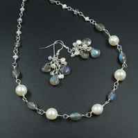 Freshwater pearl and labradorite necklace, pearl and gemstone link necklace