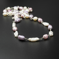 Cream, lilac and pink pastel freshwater pearl sterling silver long link necklace