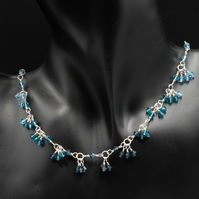 Swarovski crystal beads and sterling silver blue ombre necklace