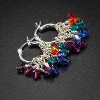 Swarovski crystal and sterling silver  rainbow cluster hoop earrings