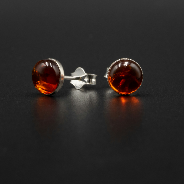 Baltic amber and sterling silver stud earrings, Leo gift