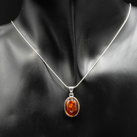 Baltic amber and sterling silver gemstone pendant necklace