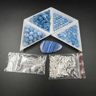 DIY blue agate silver jewelry kit ,craft supplies, jewelry making supplies