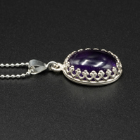 Amethyst and sterling silver pedant necklace, Aquarius gift
