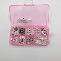 Set of 2 Beading box kits of silver plated findings and beads.