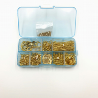 Set of 2 Beading box kits of gold plated findings and beads.