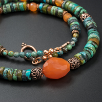 Natural turquoise, carnelian and copper statement necklace, Turquoise jewelry