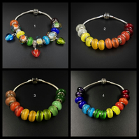 Set of matching rainbow European large hole lampwork glass beads