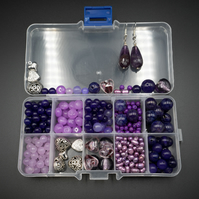 Beading kit of Amethyst, agate, jade, pearl purple and lilac gemstones