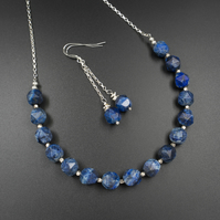 Lapis lazuli and sterling silver necklace and earring set, Sagittarius gift