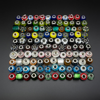 120 random mix of European large hole lampwork glass beads