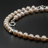 Pale pink freshwater pearl necklace, natural pearl necklace, pearl jewelry