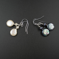 Natural freshwater pearl coin earrings, natural pearl drops, pearl jewelry