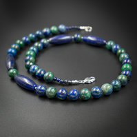 Lapis lazuli and chrysocolla necklace and earring set, Sagittarius gift