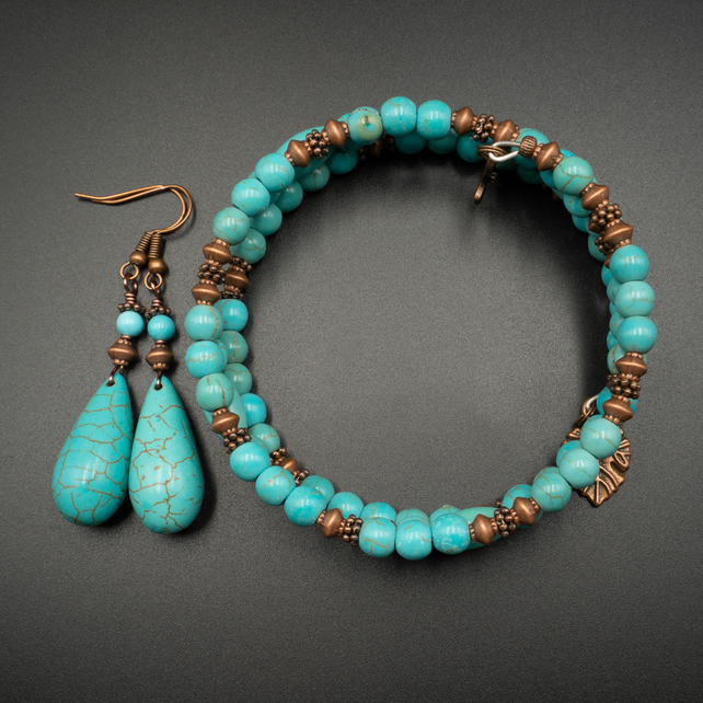 Turquoise and copper gemstone bracelet and earring set
